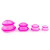 Set ventuze masaj anticelulitic din silicon-roz